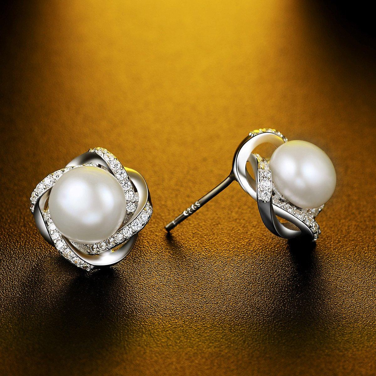 J.Vénus Damen Ohrringe Kleine Perle Ohrstecker Set Basic 925 Sterling Silber Zirkonia mit Etui