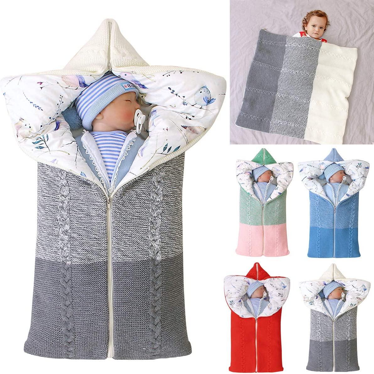 Baby Swaddle Blanket Stroller Wrap,Soft Thick Fleece Warm Blanket Newborn Sleeping Bag for 0-12 Month Boys Girls