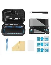 Bestico Custodia per New Nintendo 2DS XL Accessori Set,Custodia per Nintendo DS(New 3DS XL/3DS/3DS XL/New 3DS)con 16 Supporti per Cartuccia di Gioco+4 Pellicola Protettiva+Penna Touch+Cinturino(Nero)