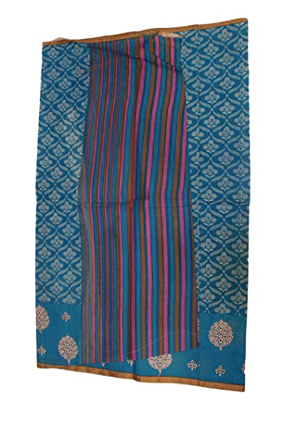 89cba7d9bbbad Nima s Collection Women s Bengal Kalamkari Oxford Print Pure Cotton Saree  with Floral Embroidery   Blouse  Amazon.in  Clothing   Accessories