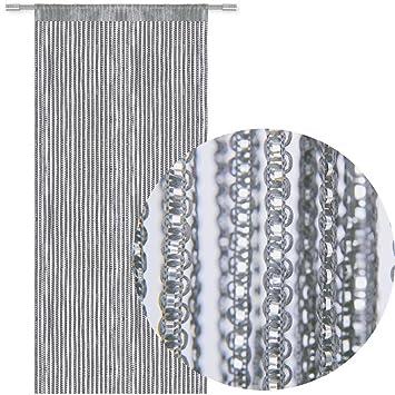 Bestlivings Fadengardine Türvorhang Fadenvorhang Metallikoptik mit Stangendurchzug, trendig schön in vielen erhältlich (90x25