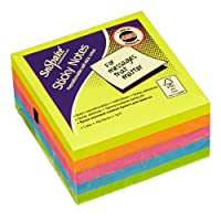 Snopake 11702 Sticky Note Cube (450 Sheets/Cube) - 76 x 76 mm, Neon/Assorted Colours