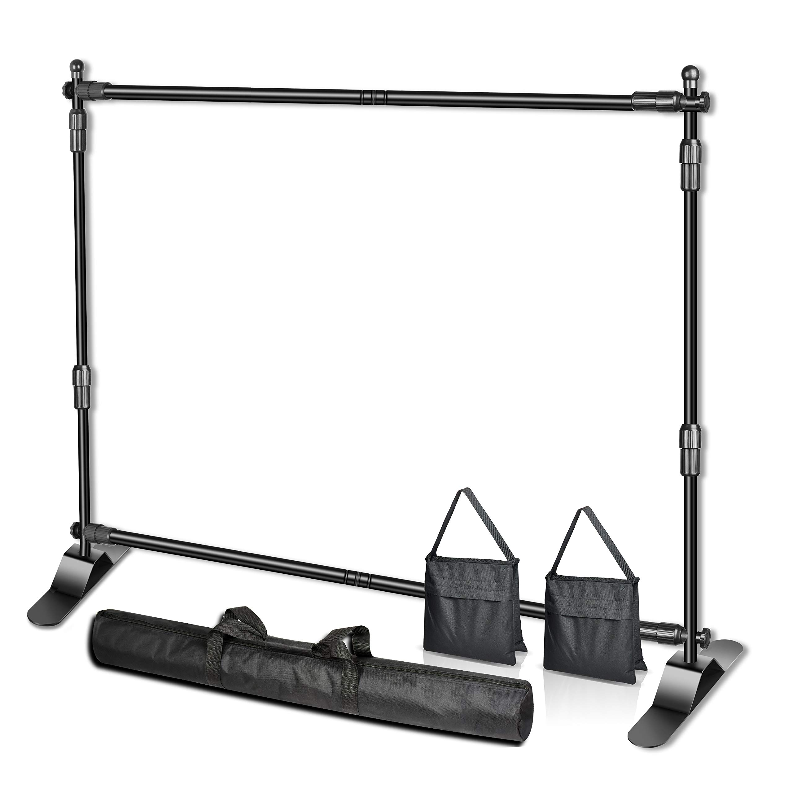Emart 8 x 8 ft Adjustable Telescopic Tube Backdrop Banner Stand, Heavy Duty Step and Repeat Background Stand Kit for Photography Backdrop and Trade Show Display by EMART