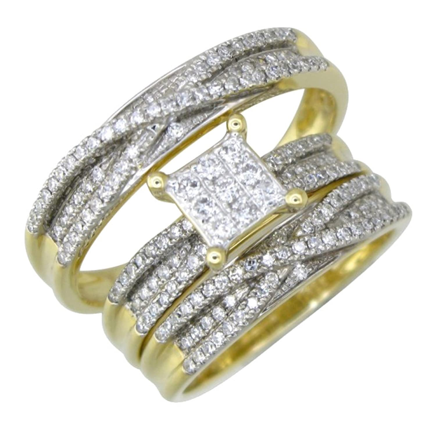 Matching Wedding Rings For Bride And Groom.Amazon Com Midwest Jewellery 14k Gold Bridal Wedding Ring Set His