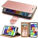 Galaxy J3 Leather Flip Case - SOWOKO Samsung J3 Wallet Case Credit Card Holder, [Slim Fit] Shockproof Protective Phone Cover for Samsung Galaxy J3 / J3 V / Express Prime / Amp Prime (Rose Gold)
