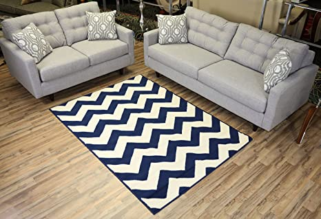 Amazon Com Chevron Navy Blue Cream Yellow Area Rug Contemporary Modern Zigzag Navy Blue 4 9 X 6 10 Kitchen Dining
