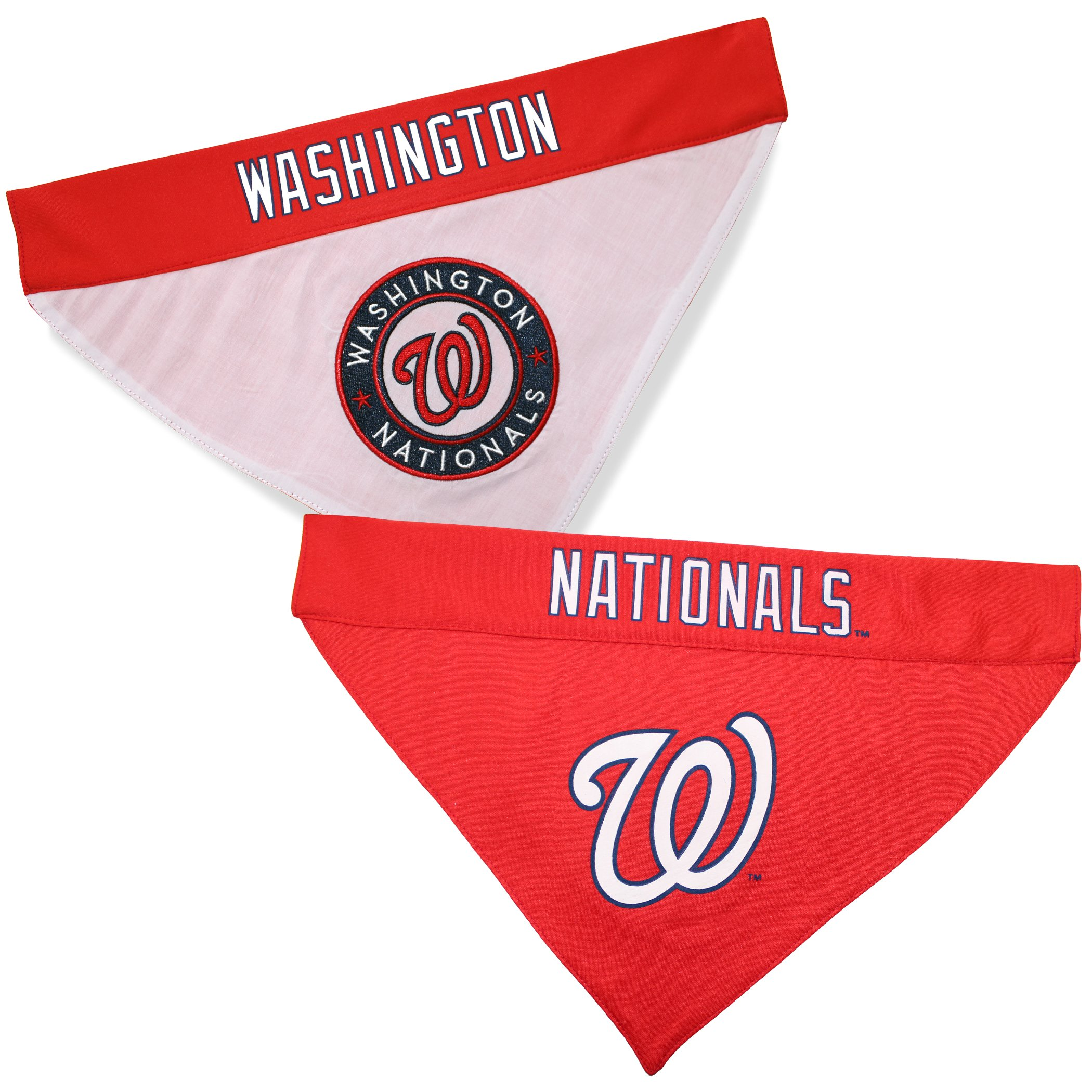 Pets First NAT-3217-L-XL MLB Washington Nationals Reversible Pet Bandana, Large/X-Large, MLB Team Color