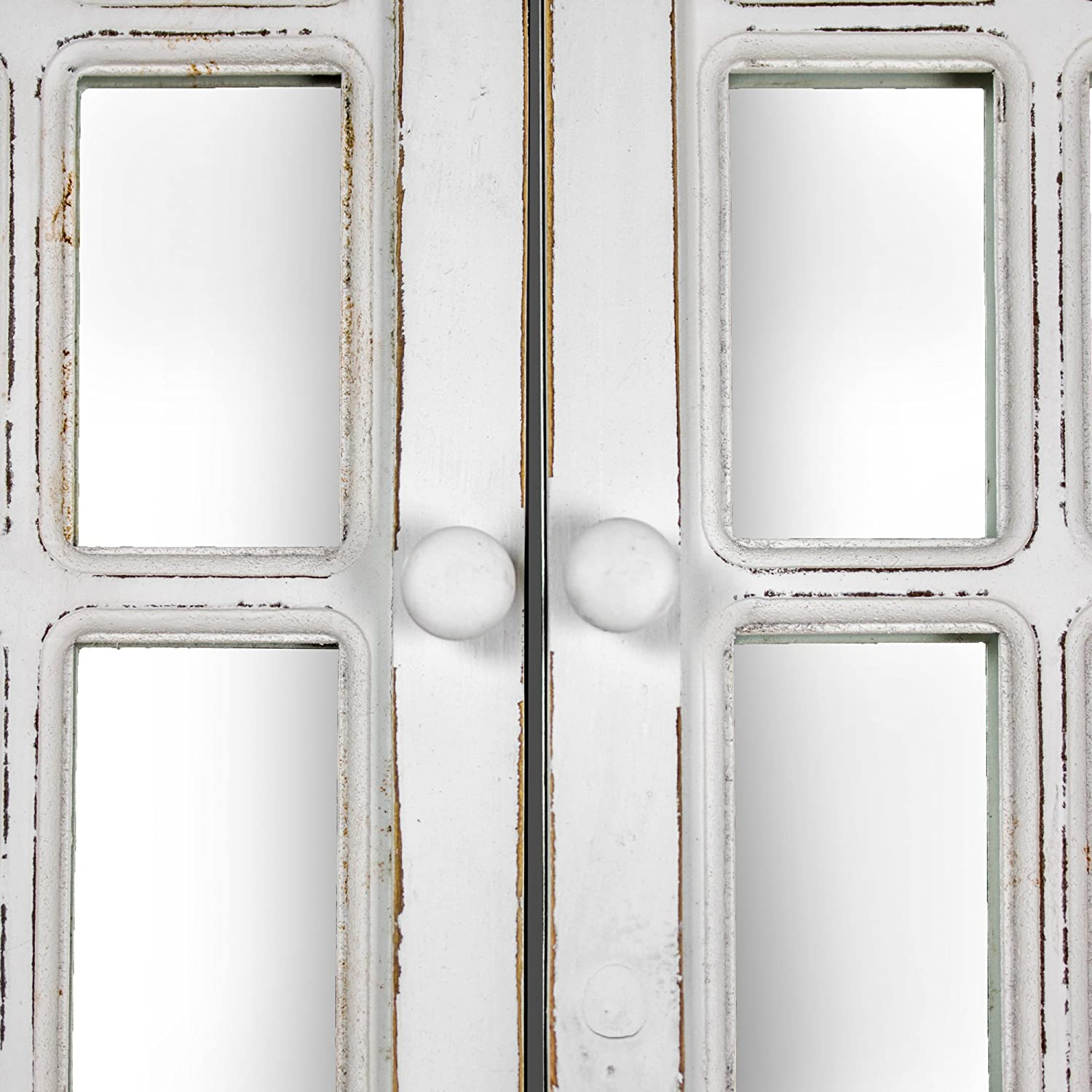 Crystal Art Rustic Farmhouse Wood Window Shutter with Key Hooks Wall Vanity Accent Mirror 22.25 L x 29.5 H White 182147WEB5