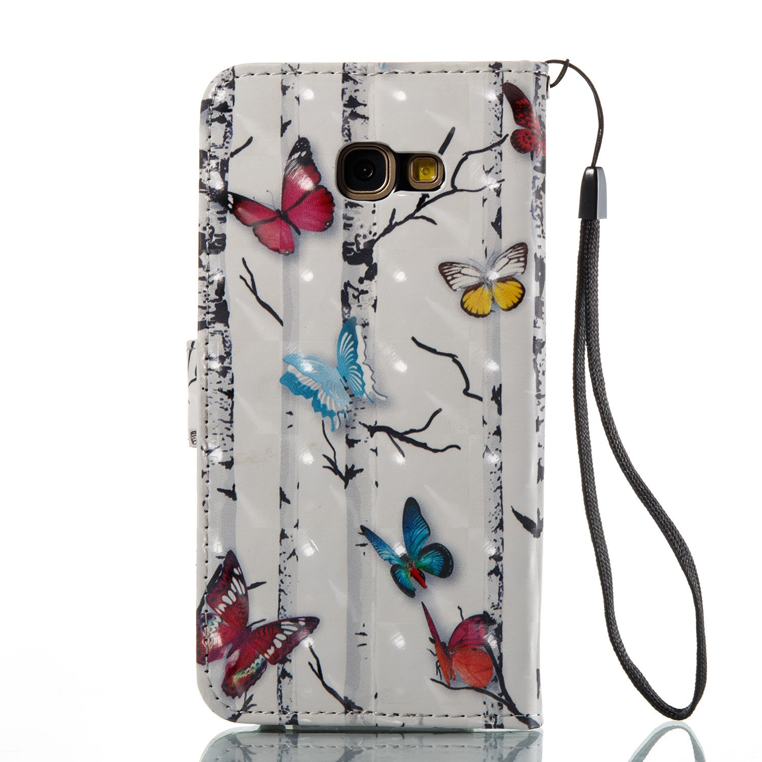 Surakey Galaxy A5 ,Mandala Flip Case Flower Butterfly Pattern PU Leather Stand Holder Card Cash Slots Magnetic Closure Flip Cover Phone case for Samsung Galaxy A5 2017 2017 Case