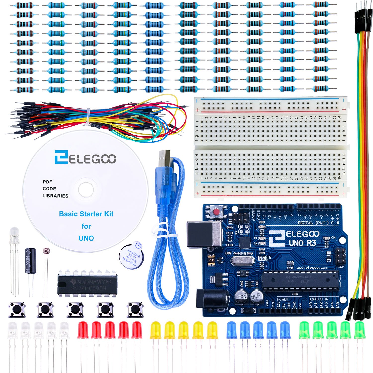 Elegoo El Kit 004 Uno Project Basic Starter With Wiring Arduino Tutorial And R3 For Industrial Scientific