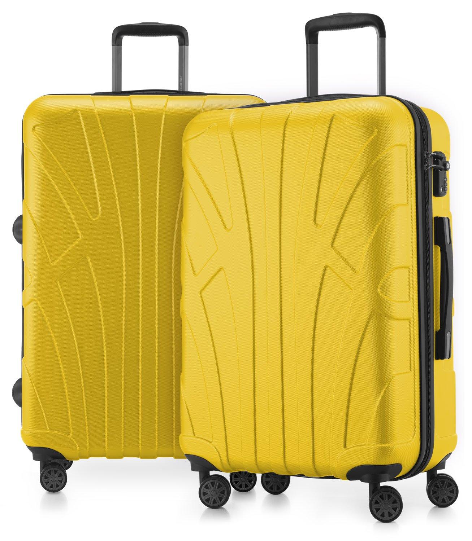 SUITLINE - Juego de 2 Trolley rigidos, Maletas de Viaje expandibles 66 cm, Maleta Mediana con 4 uedas, ABS, TSA, Amarillo: Amazon.es: Equipaje