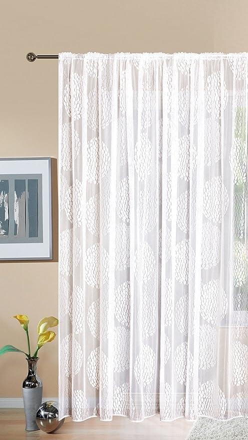 Gardine Store Jacquard Fabio HxB 245x300 cm Kräuselband Universalband Weiß  Kreismuster Transparent Voile Vorhang Wohnzimmer, 13143
