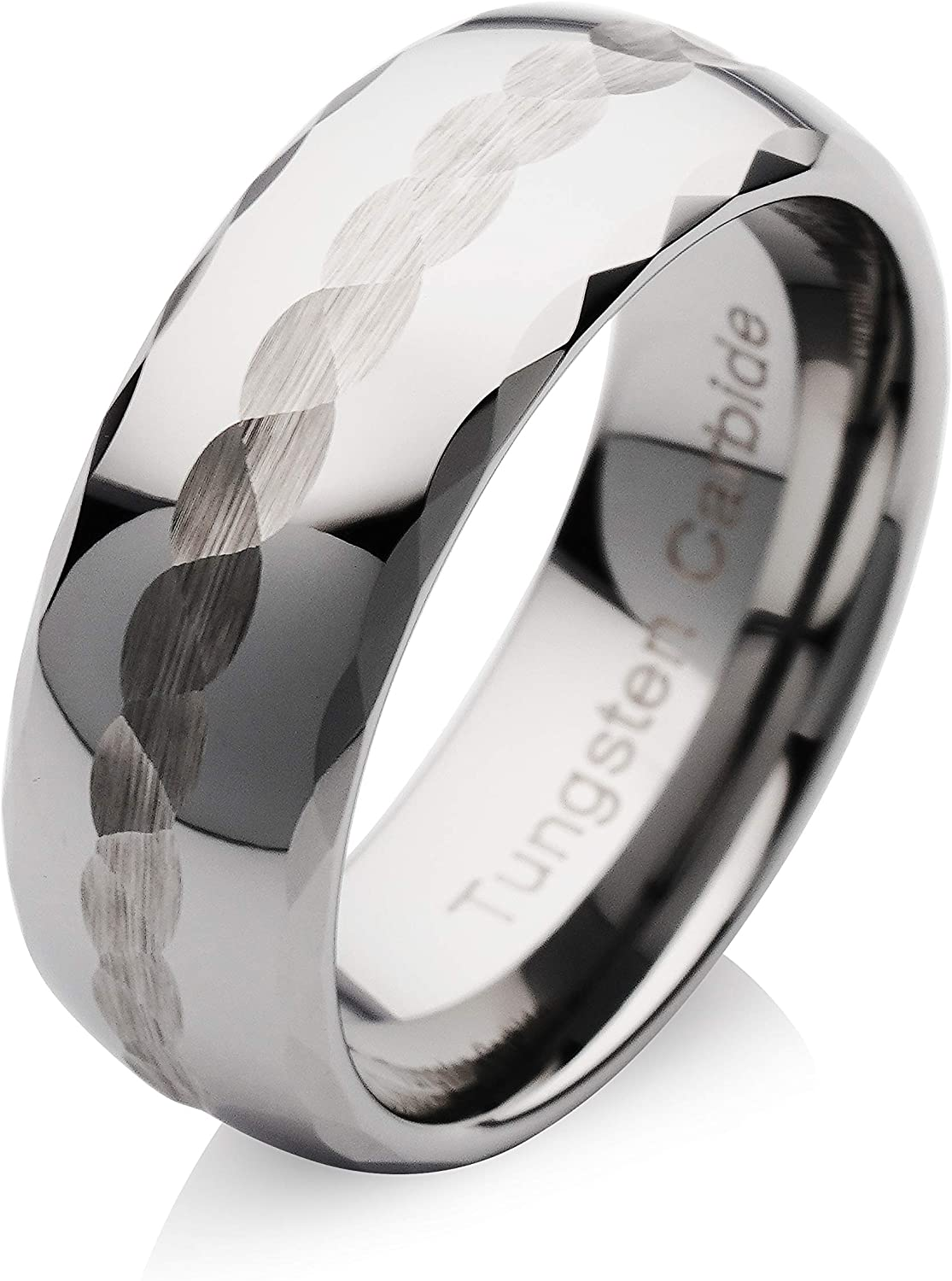 100S JEWELRY Tungsten Rings for Men Women Wedding Band Silver Hammered Finish Sizes 6-16