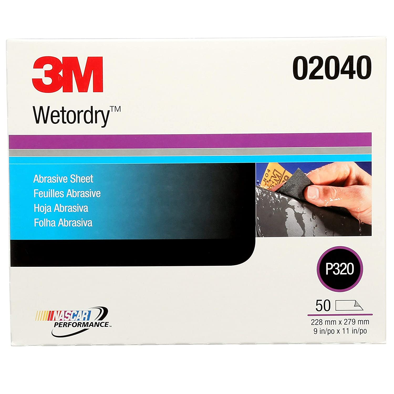 3M Wetordry Abrasive Sheet 213Q, 02040, P320, 9 in x 11 in, 50 sheets per carton