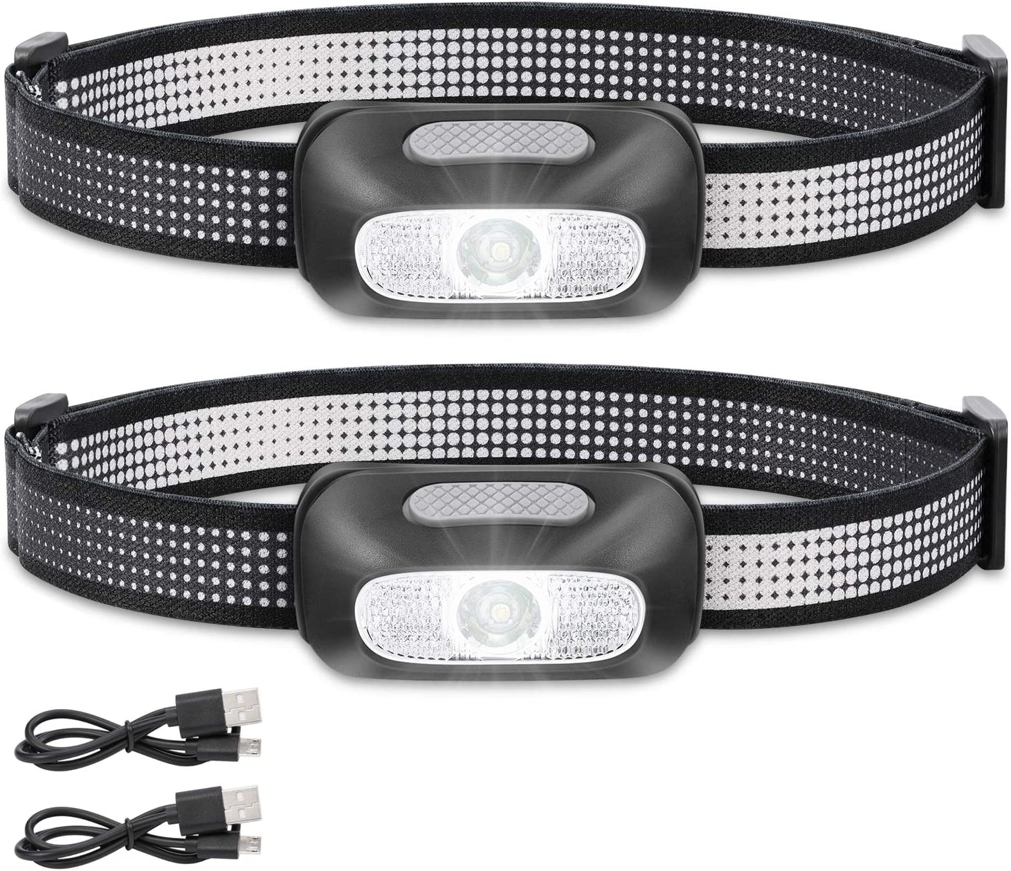 and Outdoor Headlamps DAINING B2-2 LED Headlamp Flashlight S500 Running Camping Best Head Lamp with Red Safety Light for Adults and Kids,Black Pack of 1