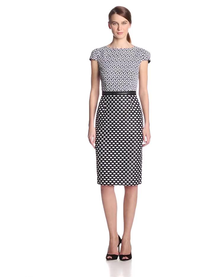 Taylor Dresses Women's Cap Sleeve Geo Print Dress, White/Black, 14