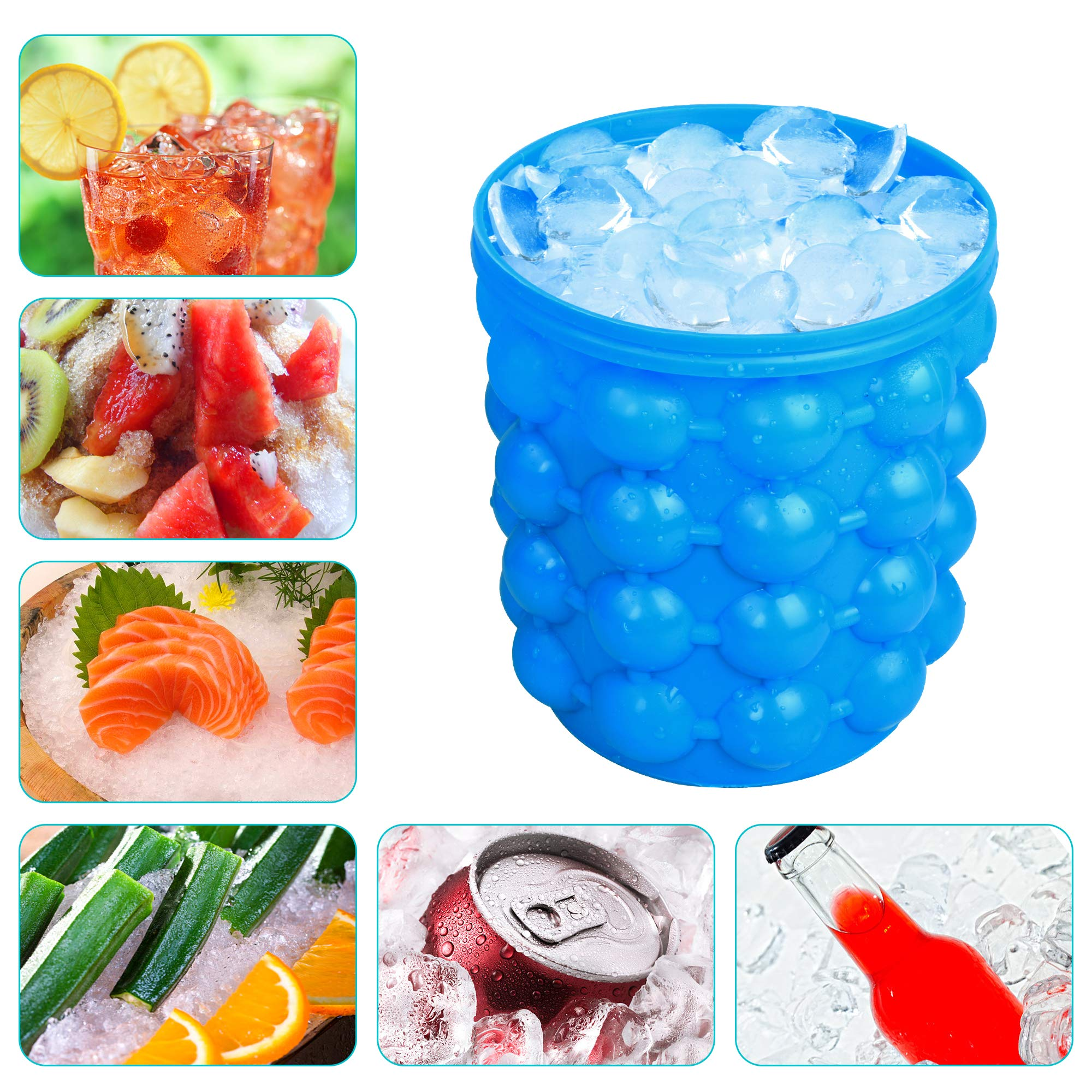 Besmon Ice Bucket, Large Silicone Ice Bucket & Ice Mold with lid, (2 in 1) Space Saving Ice Cube Maker, Silicon Ice Cube Maker, Portable Silicon Ice Cube Maker by Besmon