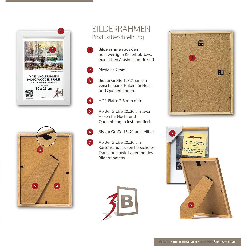 3-B Bilderrahmen Jena - 9x13 cm - dunkel braun - Holzrahmen ...