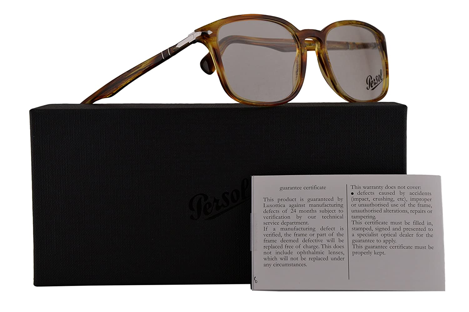 87fdcacca40 Persol Authentic Eyeglasses PO3161V Stripet Brown Yellow w Clear Demo Lens  1050 PO 3161-V (54mm)  Amazon.co.uk  Clothing