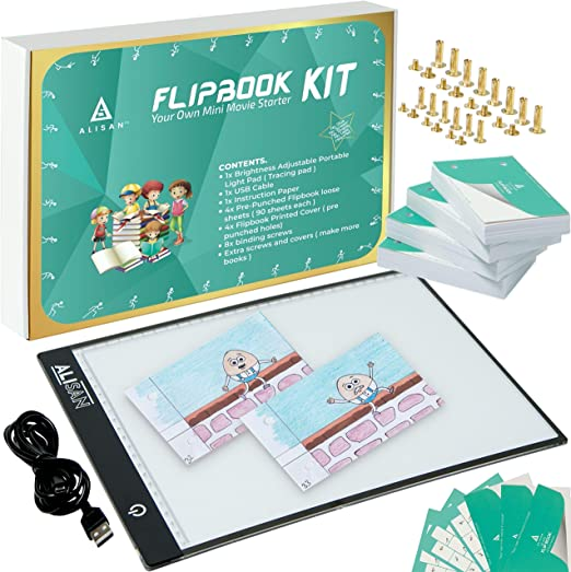 Entweg Flipbook Kit,Flip Book Kit with Light Pad LED Light Box Tablet 300 Sheets Drawing Paper Flipbook with Binding Screws for Drawing Tracing Animation Sketching Cartoon Creation