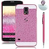 Pheant® [3in 1] Samsung Galaxy S5 Coque Étui Housse de Protection Cas avec Stylet et Bouchon Anti Poussiere(Rose)