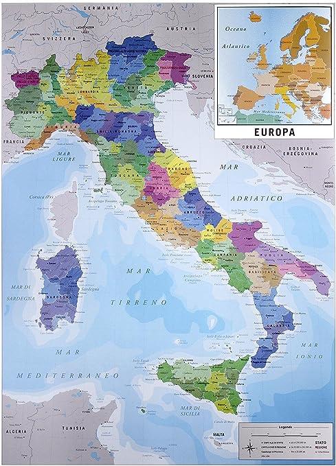 Mapa Físico Político de Italia (61cm x 91,5cm) + 1 Póster con Motivo de Paraiso Playero: Amazon.es: Hogar