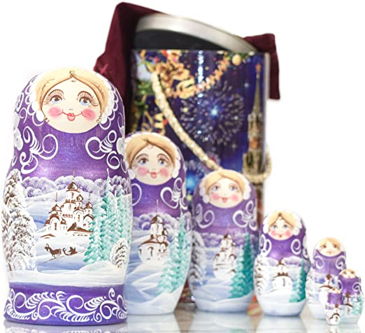5pcs Purple Dolls Set Wooden Russian Nesting Babushka Matryoshka Hand Paint  #Z