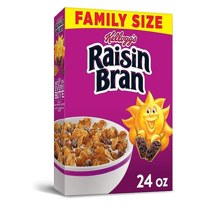 Kellogg's Raisin Bran, Breakfast Cereal, Original, Excellent Source of Fiber, Family Size, 24oz Box