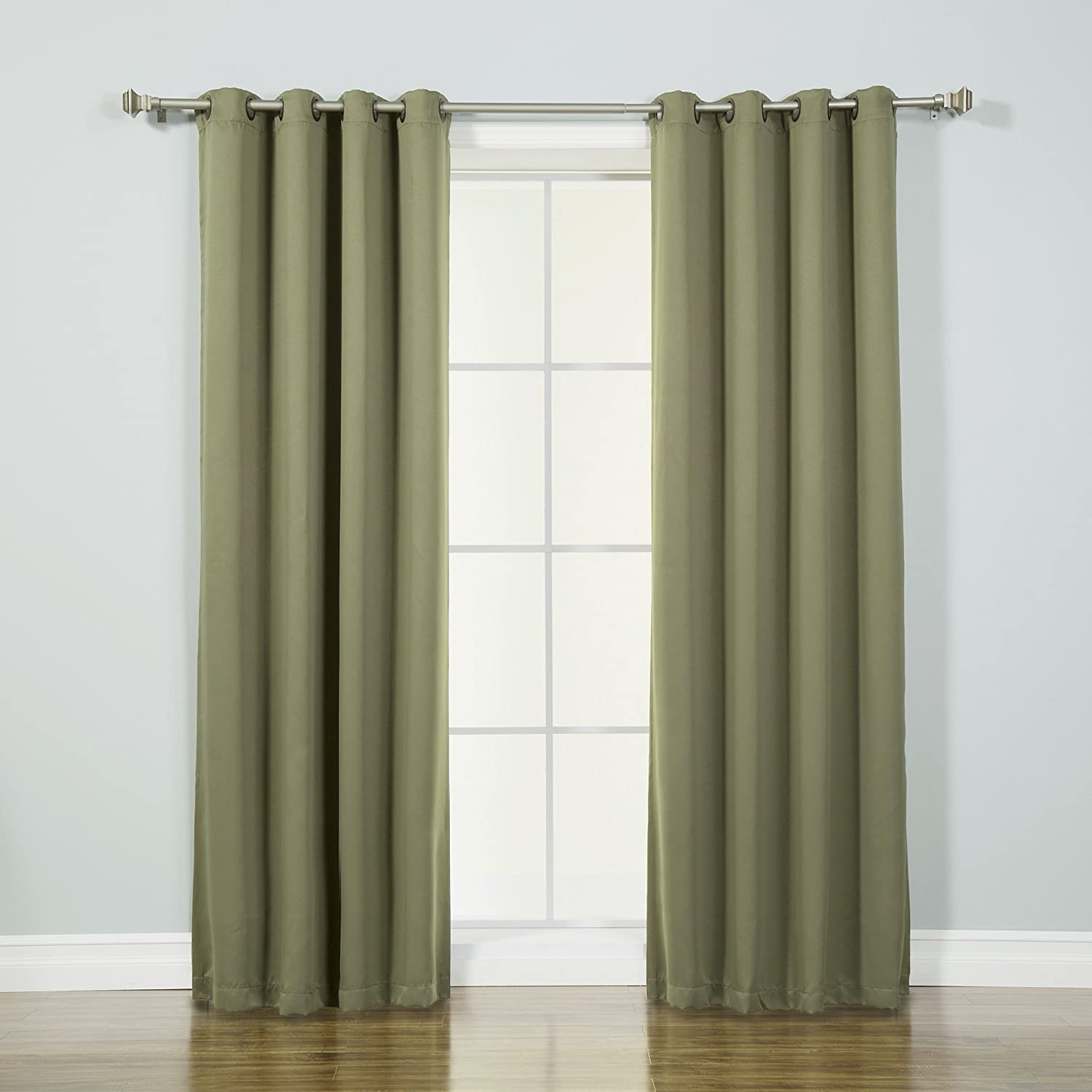 "Best Home Fashion Thermal Insulated Blackout Curtains - Antique Bronze Grommet Top - Olive - 52""W x 72""L - (Set of 2 Panels)"