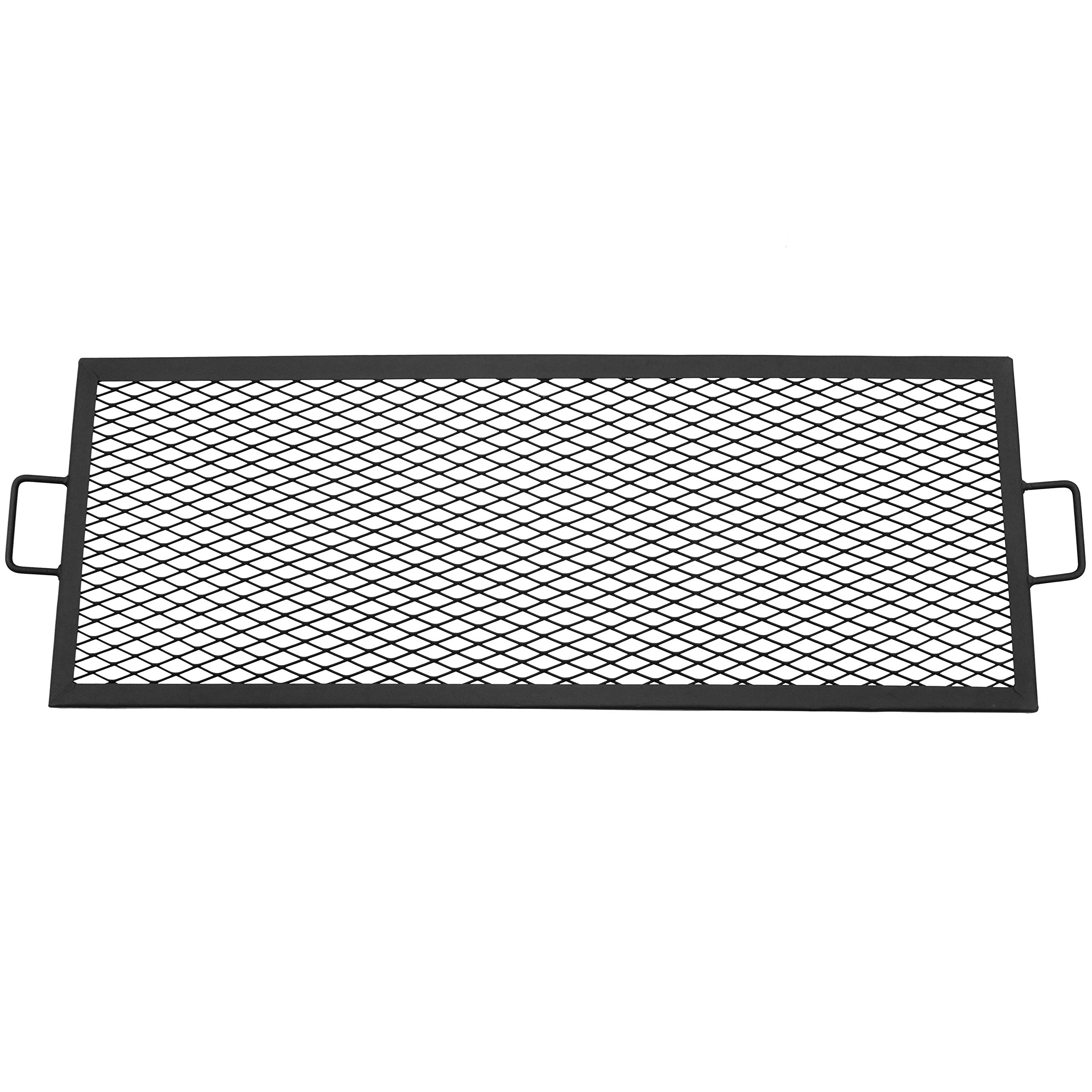 Sunnydaze X-Marks Fire Pit Cooking Grill Grate, Outdoor Rectangle BBQ Campfire Grill, Camping Cookware, 40 Inch