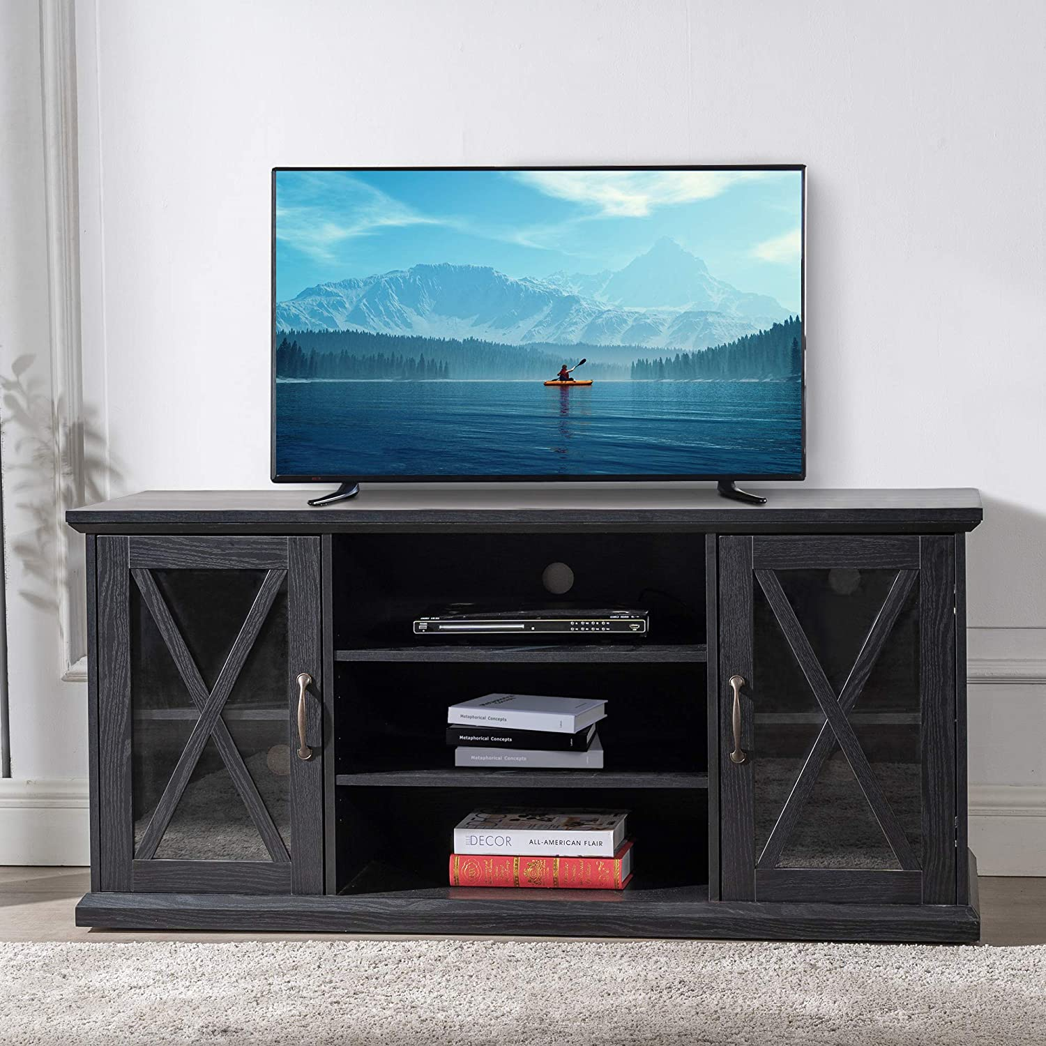 Good Gracious Tv Stand Up To 65 Flat Screen Living Room Or Bedroom With Storage Shelves Entertainment Center Black Furniture Decor