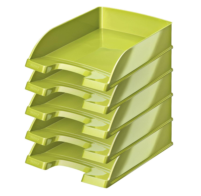 Leitz più Wow–Vaschetta portacorrispondenza 70mm–Set di 5 A4 Verde metallizzato Esselte