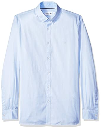 77509864 Lacoste Men's Long Sleeve Slim Fit Striped Pinpoint Button Down at ...