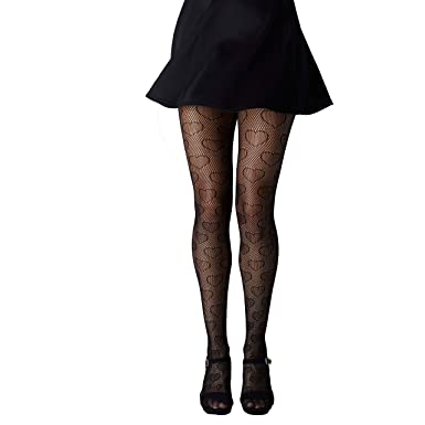 84b4dd12f2fe9 Gipsy Hearts Net Tights-Black-One Size: Amazon.co.uk: Clothing