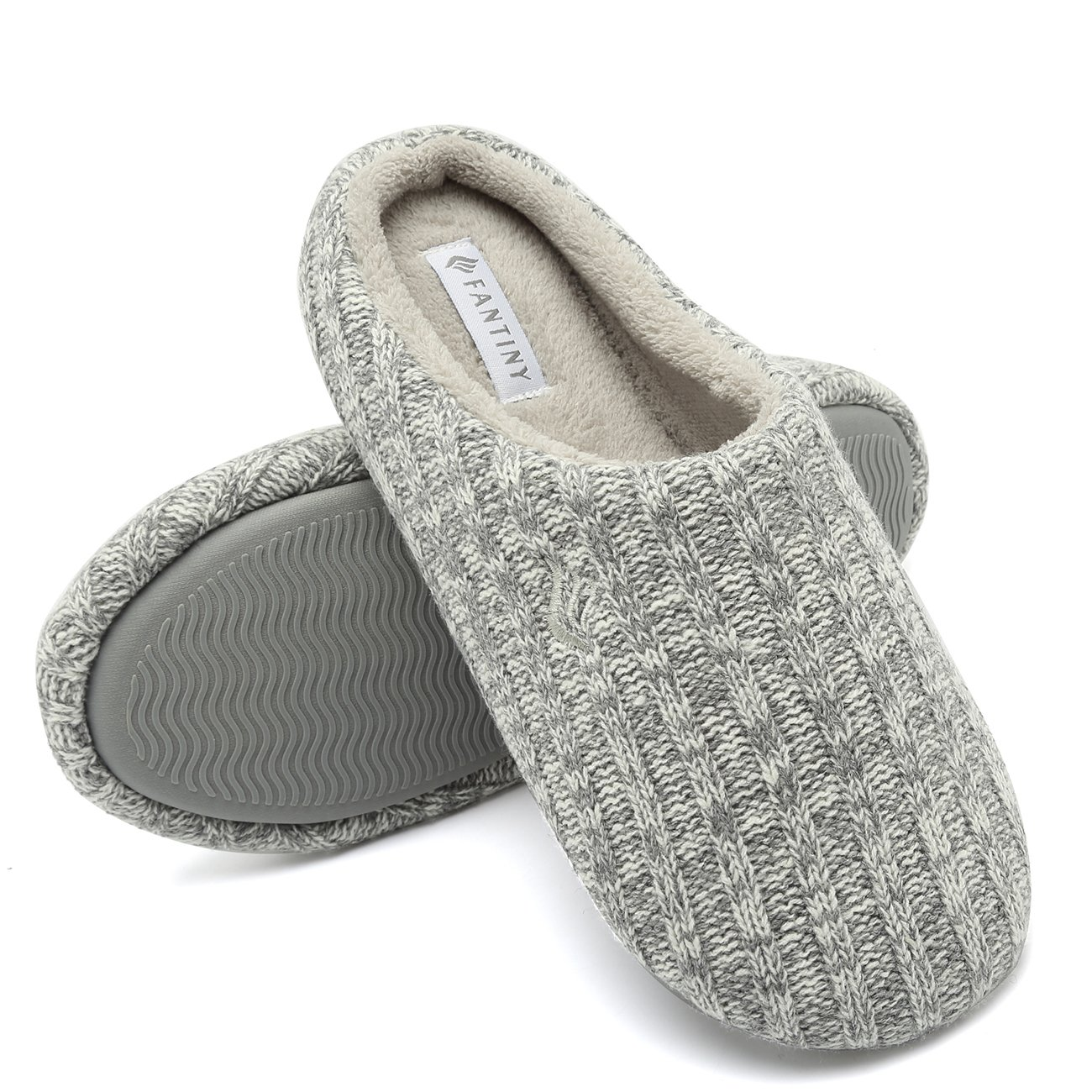 CIOR Fantiny Women's House Slippers Indoor Memory Foam Cashmere Cotton Knitted Autumn Winter Anti-Slip 2nd Upgrated Version-U118WMT029-Light Gray-F-38-39