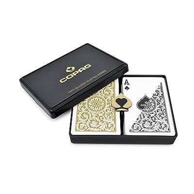 Copag Bridge Size Regular Index 1546 Playing Cards (Black Gold Setup): Sports & Outdoors