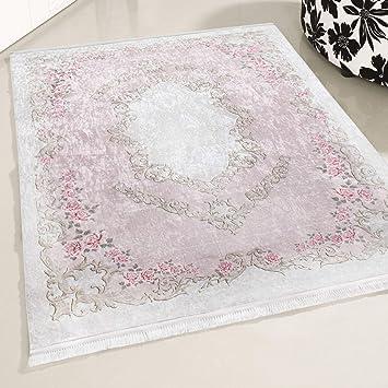 mynes Home Teppich Rose Waschbar Shabby Chic Landhausstil Designer Teppich  Küche Wohnzimmer Bad etc. Waschmaschinengeeignet Vintage Design ...