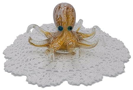 Beachcombers Coastal Life Decorative Ocean Animal Figurines with Westbraid Doily Orange Octopus, 04789