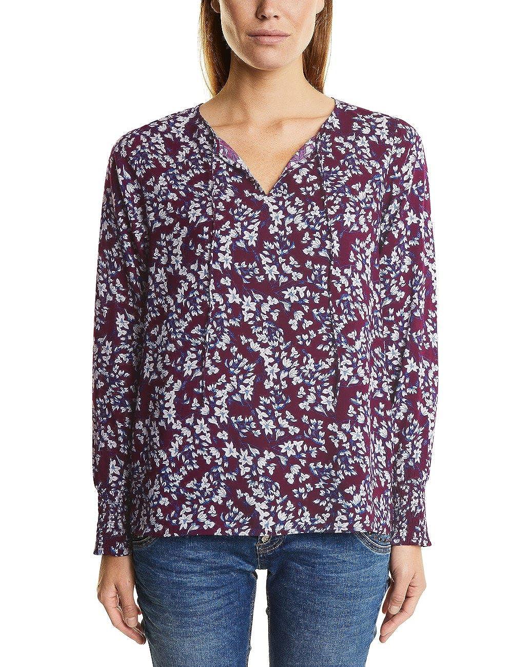 TALLA 36 (Talla Del Fabricante: 34). Street One Flower-Print Blouse Smok-Cuff Blusa para Mujer
