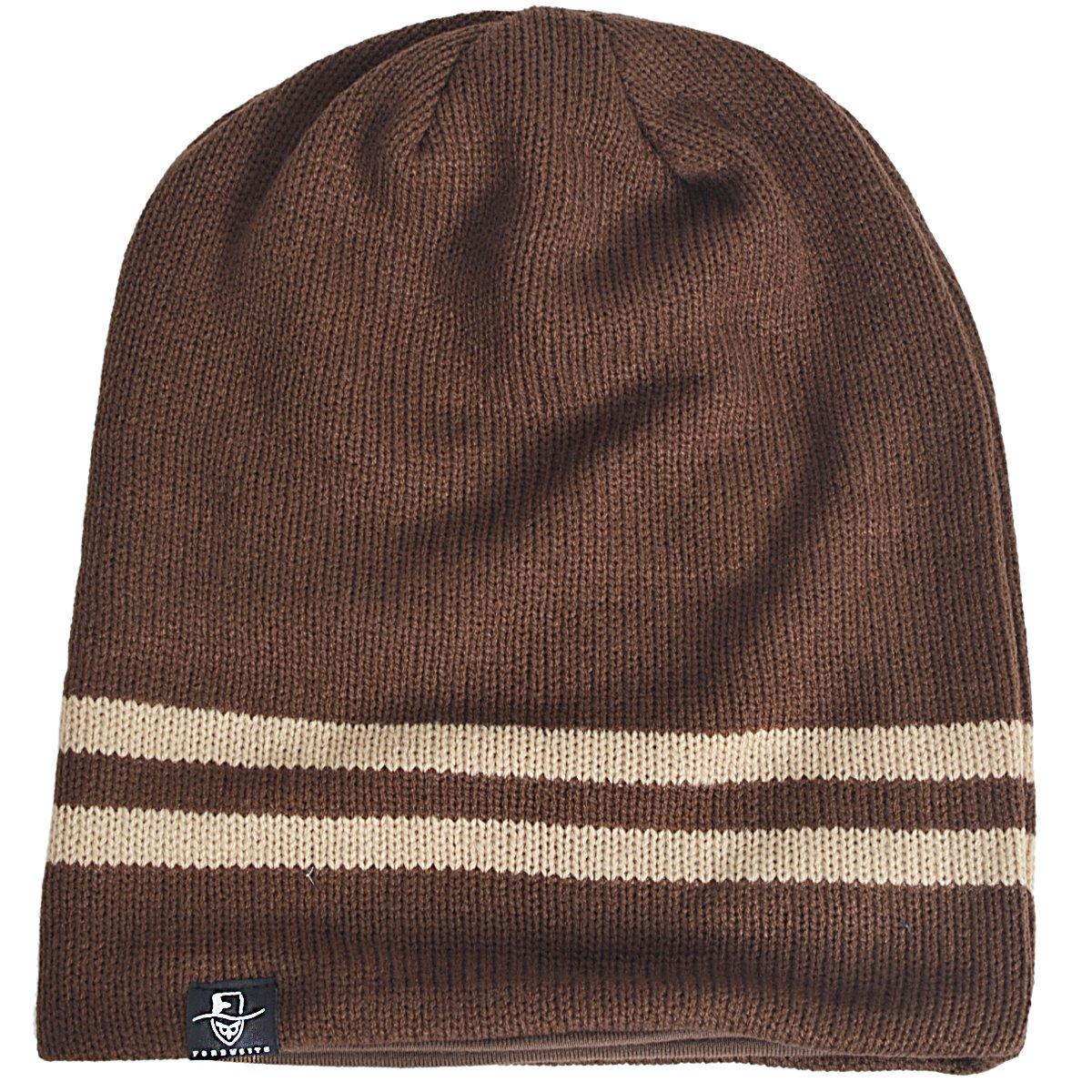 f31f869de490ff Vintage Men Baggy Beanie Slouchy Knit Skull Cap Hat (B318-Brown ...