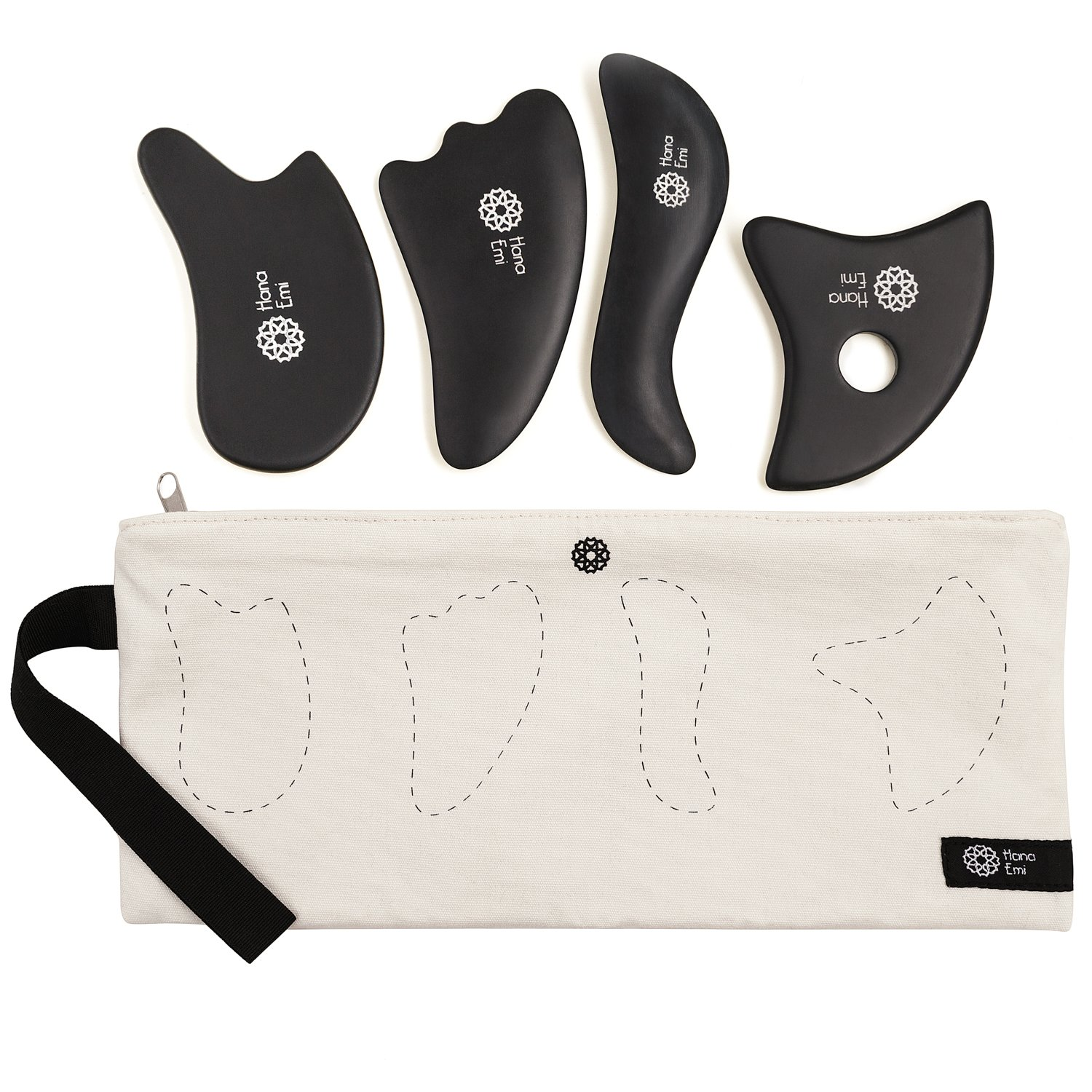 4 Gua Sha Scraping Massage Tools with Smooth Edge ✮ High Quality Handmade Sibin Bian Stone ✮ Face and Body ✮ Physical Therapy Tool for Graston, IASTM, ASTYM ✮ Storage Bag ✮ E-Book Bonus (4 pcs Set) by Hana Emi