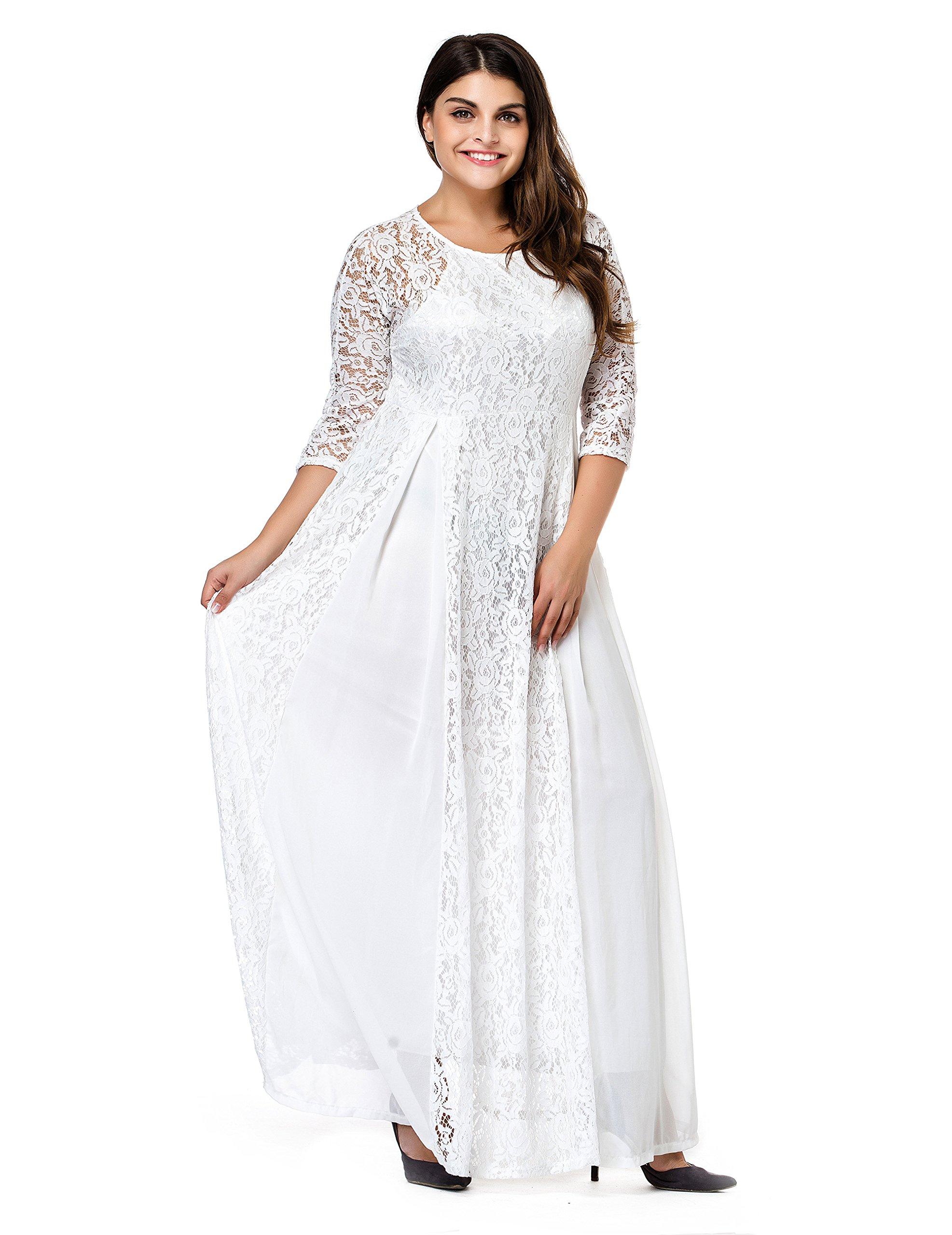 ESPRLIA Women's Plus Size Lace 3/4 Sleeve Evening Party Formal Wedding Maxi Dress (4X, White)