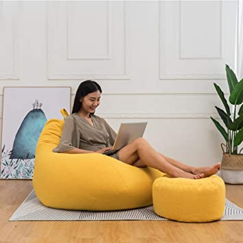 Adults Kids Large Bean Bag Chairs Sofa Cover Indoor Lazy Lounger Home Decor