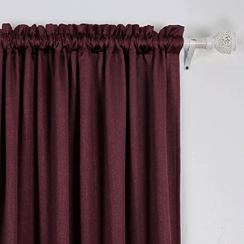 Deconovo Thermal Insulated Blackout Luxurious Texture Embossed Stripe Design Rod Pocket Window Curtain Panel