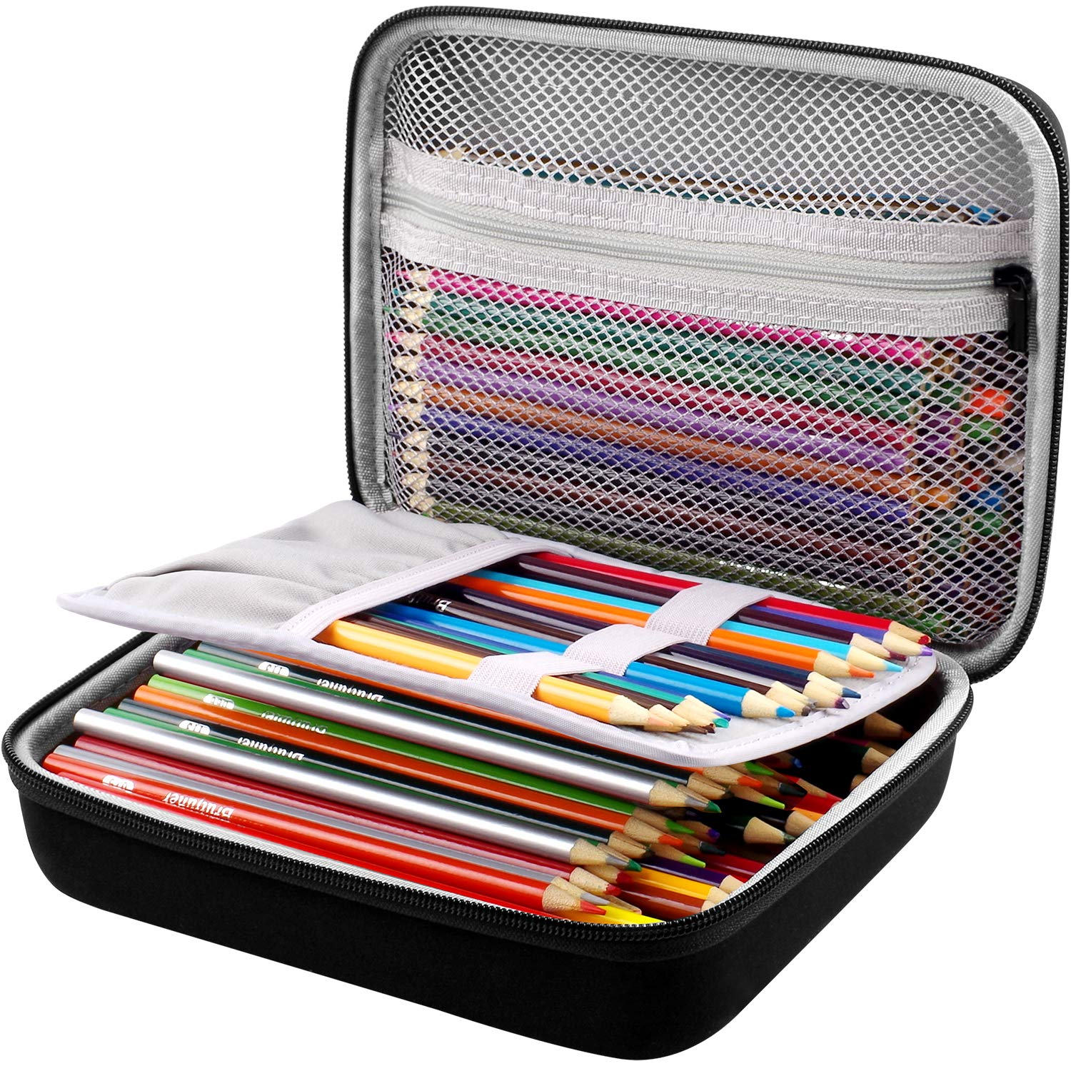 Markers Crayons Sticky Notes Protective Pencil Case Pen Bag for 200 Colored Pencils or 130 Gel Pens Eraser and so on for Kids /& Adults Tape