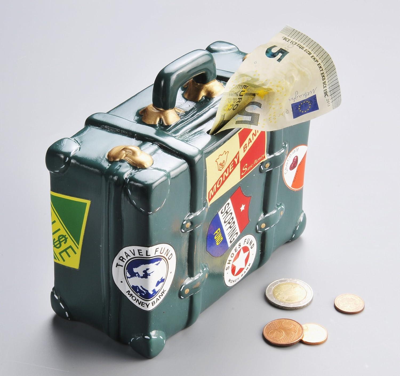 Hucha con forma de maleta. Cerámica pintado a mano. Diseño de caja registradora de viaje, vacaciones inkiess, Hucha: Amazon.es: Hogar