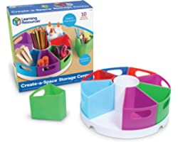 Learning Resources Create-a-Space Storage Center, Homeschool Storage, Fits 3oz Hand Sanitizer Bottles, Bright Colors, Back to
