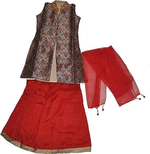 Girls/' Designer Brocade Lehenga Sets 3 Pieces Indian Part Dress Set 4 To 14 Year