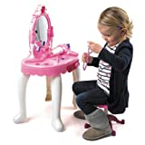 Girls Pink Dressing Table Mirror Jewellery Beauty Set Toy Stool Hair Dryer