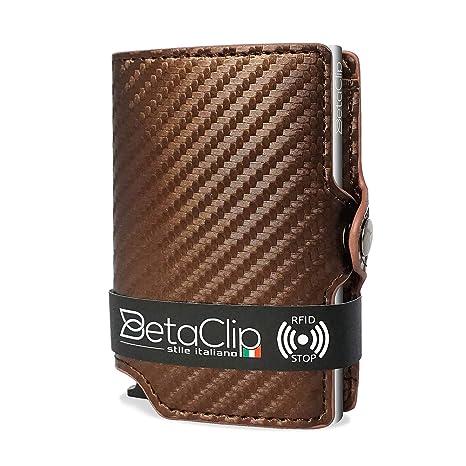 91e0d17e4c Porta Carte Credito Uomo Eco Pelle Protezione RFID Mini Portafoglio Piccolo  Sottile Clip Wallet PortaTessere Schermato
